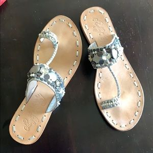 Sandals-Naughty Monkey-Silver beaded/leather sole